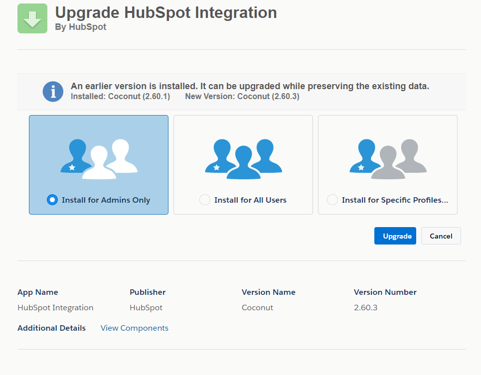 Salesforce Connector Installed Package Update Wizard
