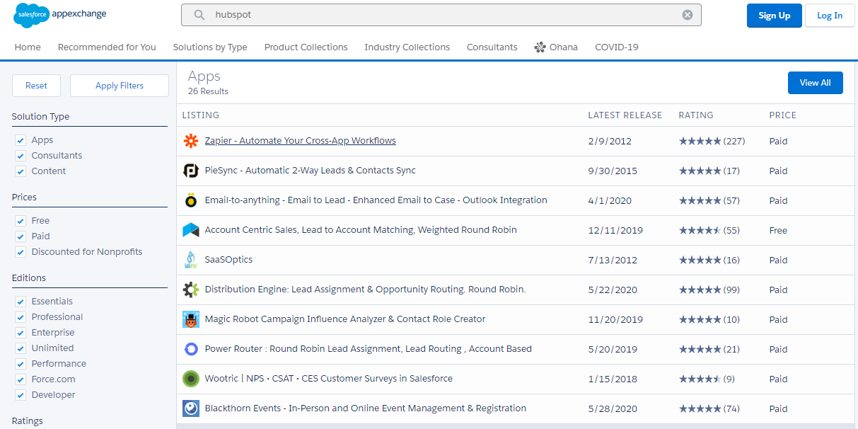 Hubspot Salesforce AppExchange